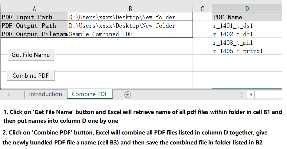 A VBA macro for you to retrieve name of all PDF files within